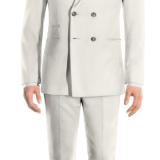 White Wool Blend Double breasted Suit with brass buttons
